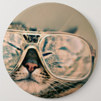 Cool Kitty in Oversized Glasses 6 Cm Round Badge