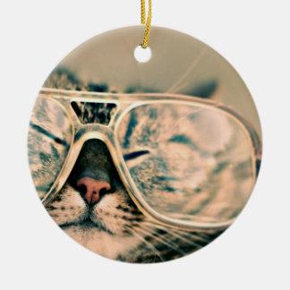 Cool Kitty in Oversized Glasses Ceramic Ornament