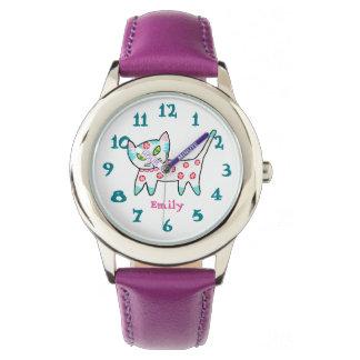 Cool Kitty Pink Name Kids Wristwatch