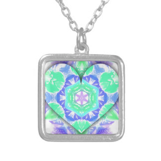 Cool Lavender Mint Green 3d Heart Shaped Patterns Silver Plated Necklace