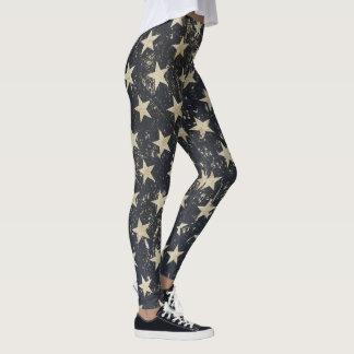 Cool leggings with vintage grunge stars over blue