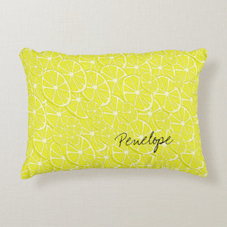 Cool Lemon Slices Pattern Signature Add Your Name Decorative Cushion
