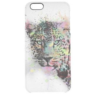 Cool leopard animal watercolor splatters paint