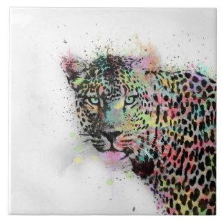 Cool leopard animal watercolor splatters paint ceramic tile