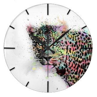 Cool leopard animal watercolor splatters paint clocks