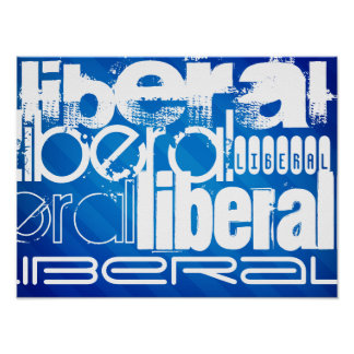 Cool Liberal; Royal Blue Stripes Posters