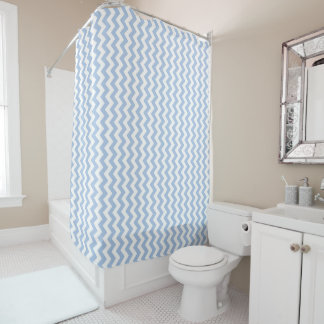 Cool Light Blue and White Chevron Stripe Shower Curtain