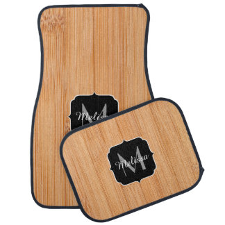 Cool light brown bamboo wood print Monogram Floor Mat