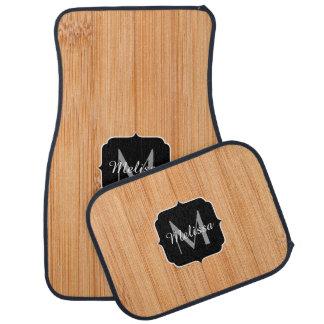 Cool light brown bamboo wood print Monogram Floor Mat