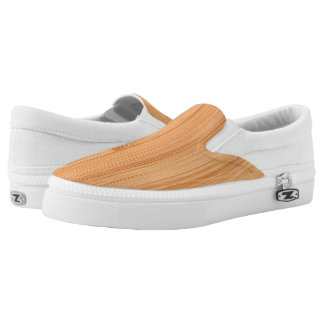 Cool light brown bamboo wood print printed shoes