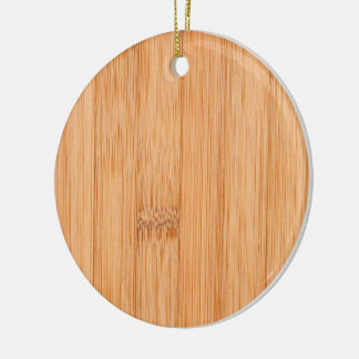 Cool light brown bamboo wood print round ceramic decoration