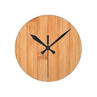 Cool light brown bamboo wood print round clock