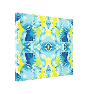 Cool Lime Green Blue Modern Abstract Canvas Print