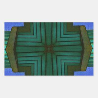 Cool Linear Symmetrical Blue Green Pattern Rectangular Sticker