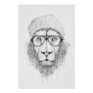 Cool lion (blackandwhite) poster