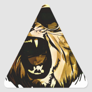 Cool Lion head with glasses and headphones Triangle Sticker
