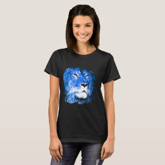 Cool Lion With Red Eyes And Blue Flame T-Shirt