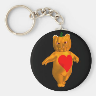 Cool Little Halloween Bear Basic Round Button Key Ring