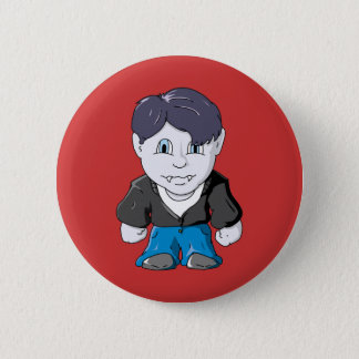 Cool Little Vamp in black leather jacket 6 Cm Round Badge
