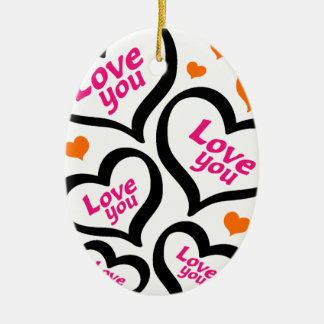 cool love hearts ceramic oval decoration