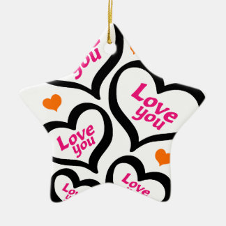 cool love hearts ceramic star decoration