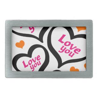 cool love hearts rectangular belt buckles