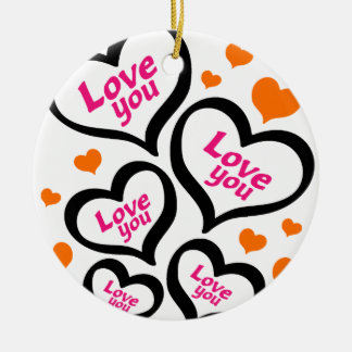 cool love hearts round ceramic decoration