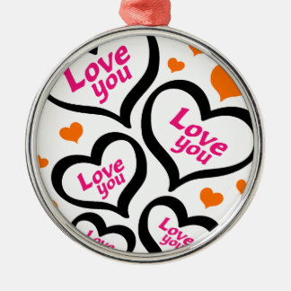 cool love hearts Silver-Colored round decoration