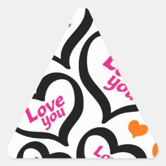 cool love hearts triangle sticker
