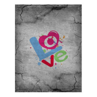 Cool Love painted on a old grey cracked wall Postcard