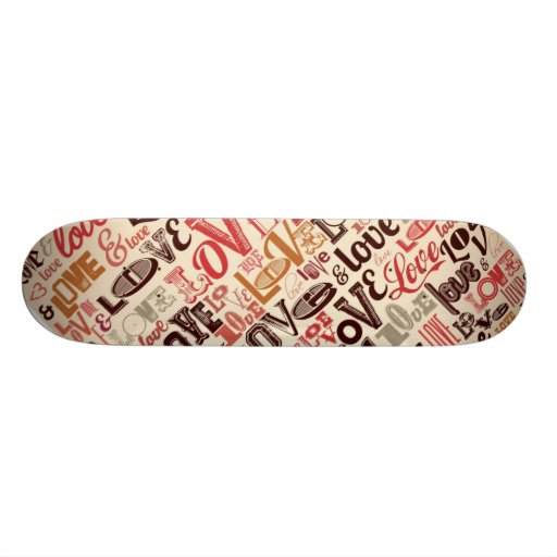Cool Love Text Design Custom Skate Board