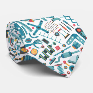 Cool Machinery Elements Colorful Pattern Tie