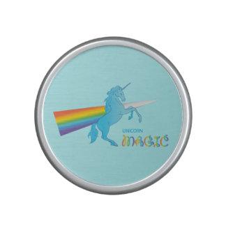 Cool magic Unicorn with bright rainbow. Fantasy. Speaker