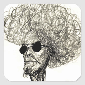 Cool Man with Huge Hair Afro Dude Square Sticker