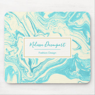 Cool Marble Design in Turquoise and Cream Custom Mouse Pad