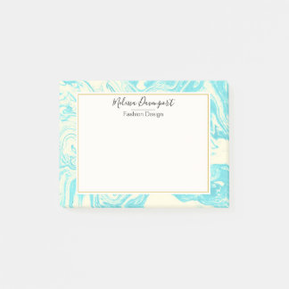 Cool Marble Design in Turquoise and Cream Custom Post-it Notes