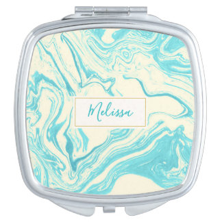 Cool Marble Design in Turquoise and Cream Makeup Mirror