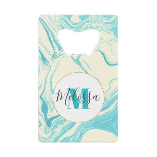 Cool Marble Design in Turquoise and Cream Monogram