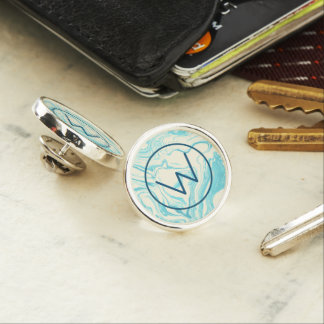 Cool Marble Design in Turquoise and Cream Monogram Lapel Pin