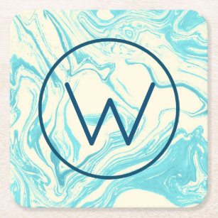 Cool Marble Design in Turquoise and Cream Monogram Square Paper Coaster
