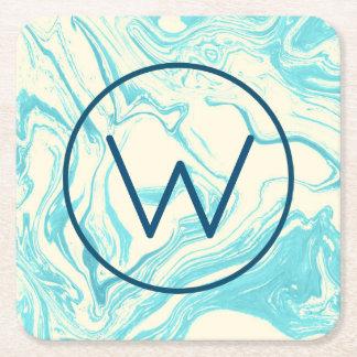 Cool Marble Design in Turquoise and Cream Monogram Square Paper Coaster