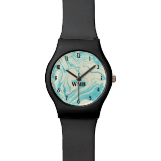 Cool Marble Design in Turquoise and Cream Monogram Watch