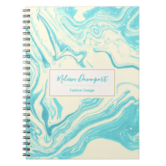 Cool Marble Design in Turquoise and Cream Notebook