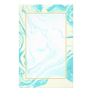 Cool Marble Design in Turquoise and Cream Stationery