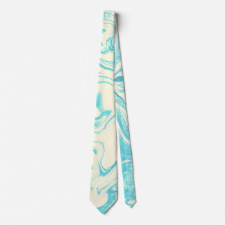 Cool Marble Design in Turquoise and Cream Tie