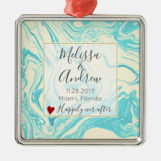 Cool Marble Design in Turquoise and Cream Wedding Metal Ornament