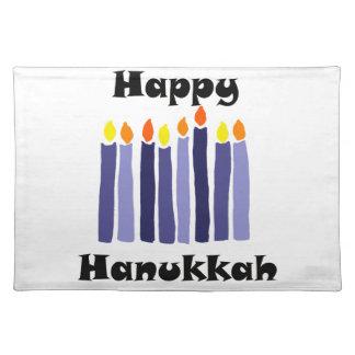 Cool Menorah Candles Happy Hanukkah Art Placemat