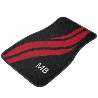 Cool Mens Monogram Racing Stripes Car Mat