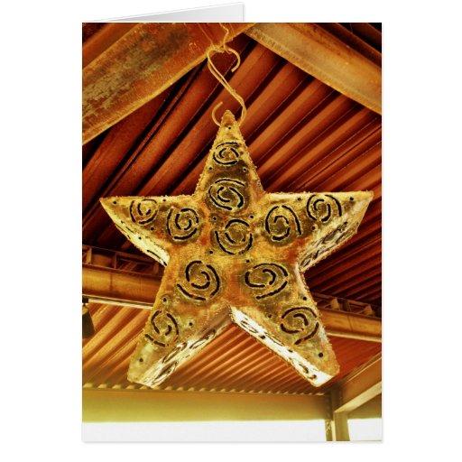 Cool Metal Star Hanging Patio Light Fixture Greeting Cards