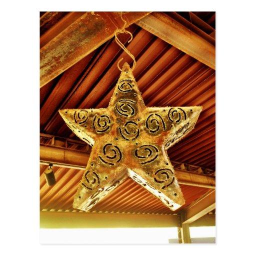 Cool Metal Star Hanging Patio Light Fixture Post Card